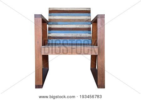 Wooden arm chair isolated on white background with clipping path