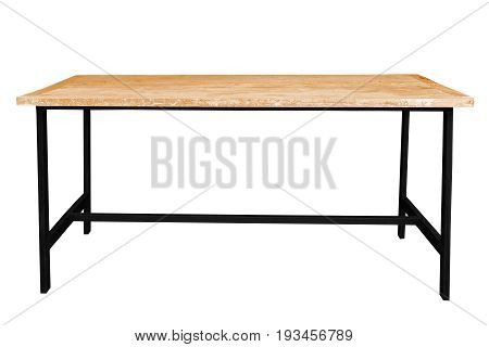 Wooden table steel legs simplistic on white background work with path.