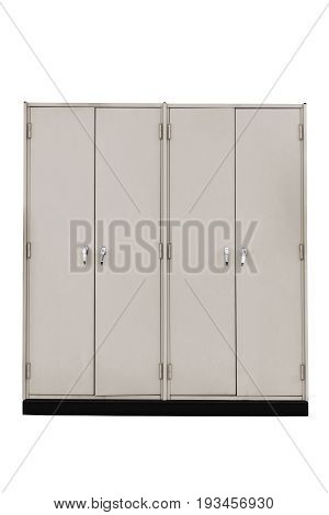 Steel filing cabinet isolated on white work with clipping path.