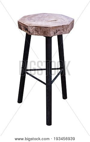 Wooden steel legs simplistic bar chair on white background work with path.