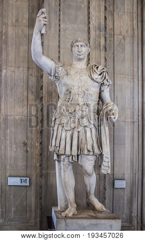 ParisFrance- May 032017: Emperor Trajan (98-117 AD).Collection of Borghese fouilles de Gabies. The Louvre