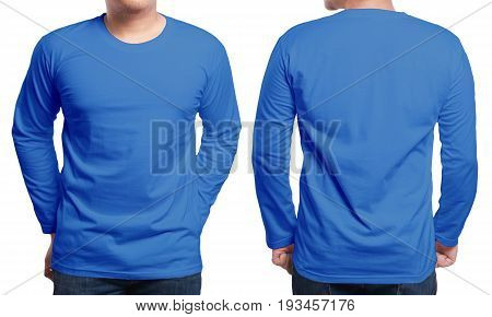 Blue long sleeved t-shirt mock up front and back view isolated. Male model wear plain navy blue shirt mockup. Long sleeve shirt design template. Blank tees for print