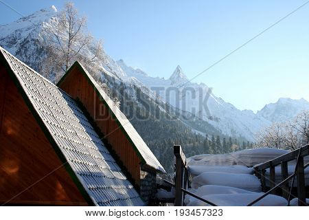 Morning in the mountains of Dombai Caucasus