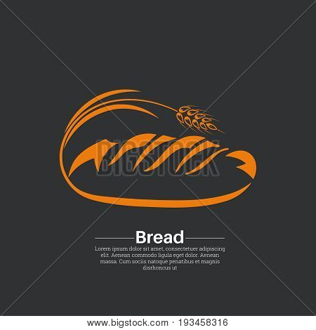 Icon bread.Fresh product.Bakery logo emblem label. A vector illustration in flat style.