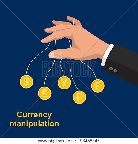 The hand manipulating bank notes.The puppeteer in the stock market.Currency transactions at the exchange.Vector illustration in flat style.