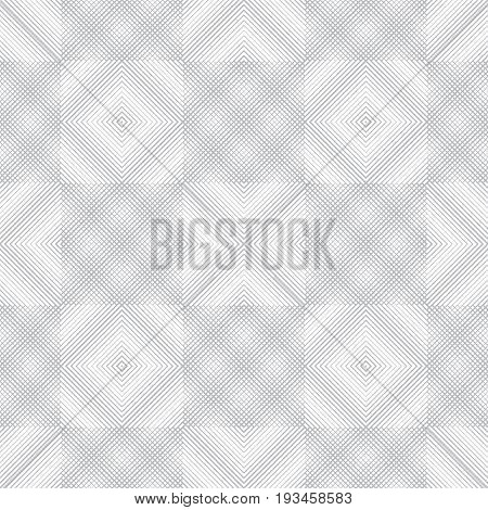 Seamless pattern. Abstract linear textured background. Gentle pastel texture with regularly repeating checkered tiles. rhombus diamond grid crosses lines. Vector contemporary design