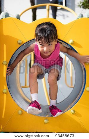Asian Chinese Little Girl Playing In The Tunnel