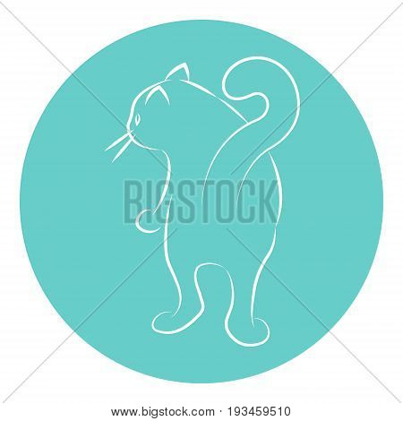 Line Art Vector Illustration of A House Cat. Drawing. Rear View.