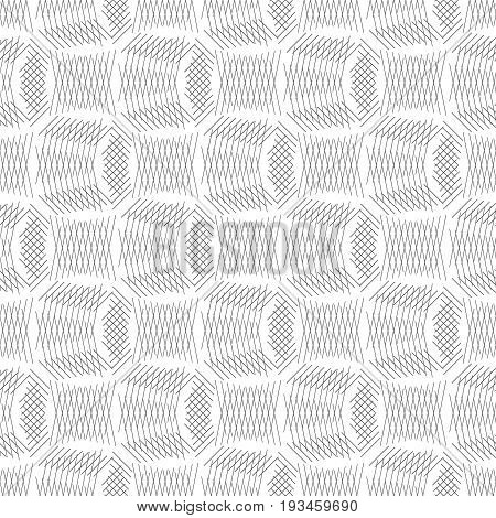 Vector seamless pattern. Modern texture with crossed thin lines which form regularly repeating grids lattices. Geometric puzzle mosaic. Сontinuous ornament. Minimal trendy design