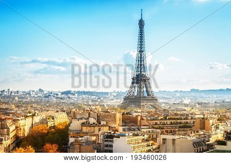eiffel tour and Paris cityscape in autumn day, France, retro toned