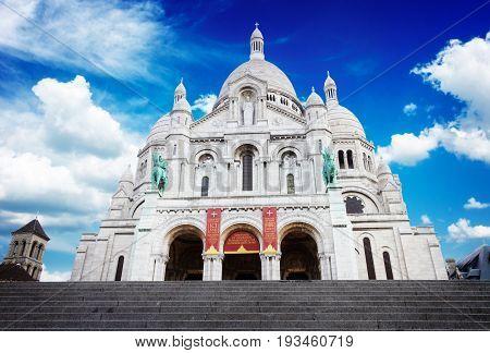 world famous Sacre Coeur church, Paris, France, retro toned