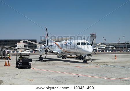 Tus Airways Aircraft Landet In Ben Gurion International Airport. Israel