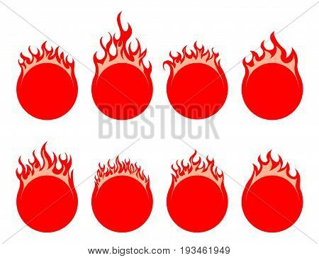Round simple fire icon on white background