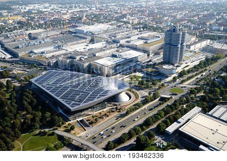 MUNICH, GERMANY - September 13, 2016: Aerial view of BMW World and BMW Museum