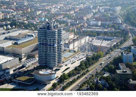 MUNICH, GERMANY - September 13, 2016: Aerial view of BMW Museum