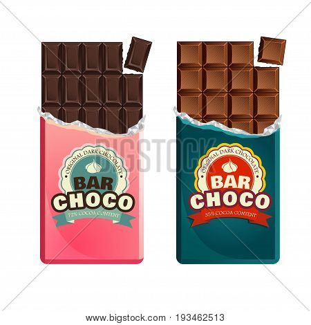 Dark And Milk Candy Chocolate Bars In Vintage Bar Wrappers.