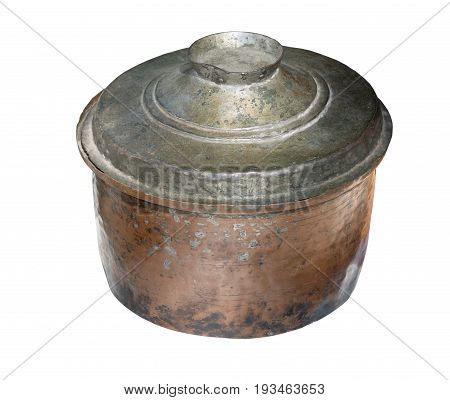 old casserole dish or crock pot isolated on white background