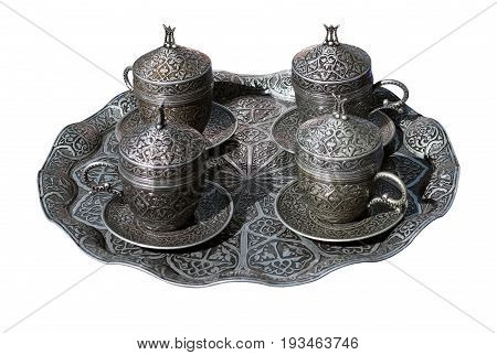 Turks for cooking coffee on white background poster