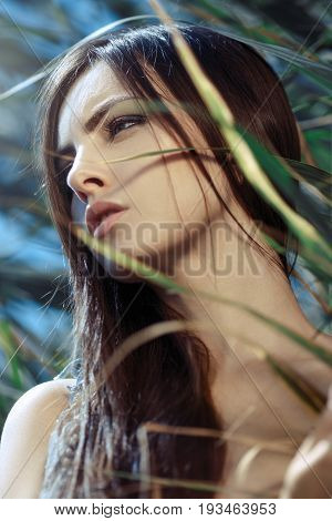 Beautiful woman portait outdoors on the nature at night. Sexy brunette lady . Beautiful fashion creative art of naked girl multi-racial Asian Caucasian female.