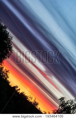 Beautiful summer sunset. Colorful sunset clouds. Sunset sky background.