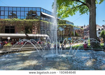 Fountain Near The Shopping Centre At Annecy, France