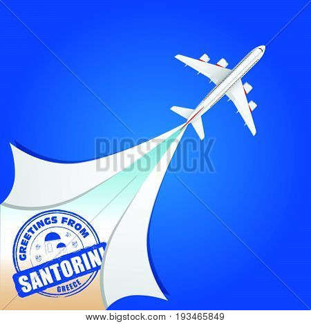 Airplane With Santorini Grunge Rubber Illustration