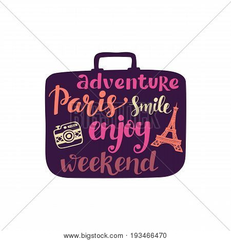 Travel colorful label, hand lettering inscription in retro suitcase silhouette. Typography design for cards, posters, banners, fashion print. Tourism business template, vintage style. Voyage to Paris