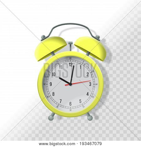 Alarm Clock With Transparent Shadow. Realistic Vector Illustration. Time Dead Line Business Concept