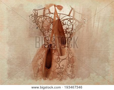 Watercolor style pattern of ballerina`s pointes nude colors