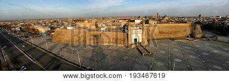 Large ark of Bukhara massive fortress located in the city of Bukhara in Uzbekistan.