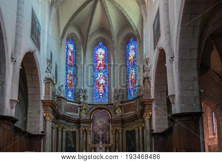 Stained Glass Windows Of Eglise Notre Dame De Liesse. Annecy, Haute-savoie, France