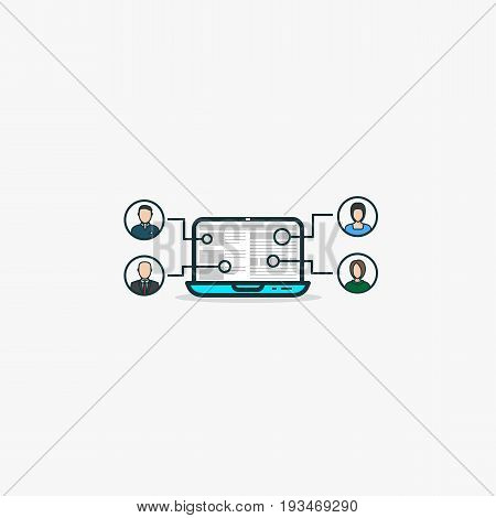 Outsourcing concept. Open laptop with web site and icons with human faces avatars. Working on same project using web technologies and outsource work to other people. Internet job and managing.