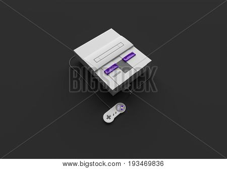 3D RENDERING OF HOME VIDEO GAME CONSOLE ON PLAIN BACKGROUND
