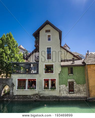 Picturesque Cafe Cafe In Annecy Town,