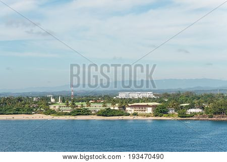 Toamasina Madagascar - December 22 2017: Panoramic view from the sea to the coast of Indian Ocean in Toamasina (Tamatave) Madagascar East Africa.