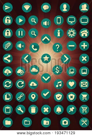 Set of 62 Web Interface Icons. Vector icons for web or mobile apps. You can easy change any objects (icon, icon's background or shadow) to your own colors also select and use one or more objects as you need (e.g. use icon without shadows).