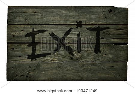 the word exit on old wooden planks