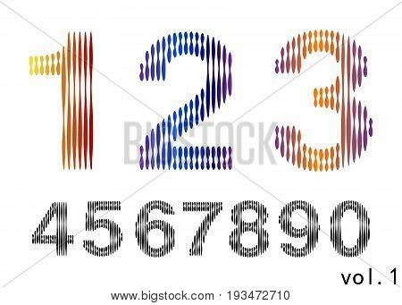 Arabic numerals set 1-10. Colored figures. Version 5