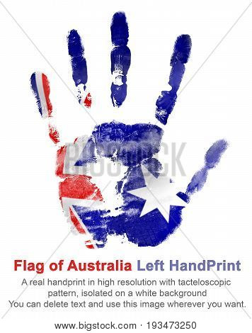 The imprint left hand in the colors of Australian flag. symbols of Australia