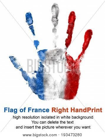 Right hand print in French flag color isolated on white background. Symbol of France and national holidays for use in web and print.