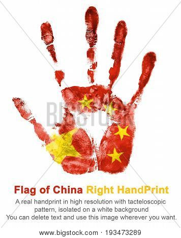 Right hand print of China flag color. The imprint of national colors red and yellow isolated on white background