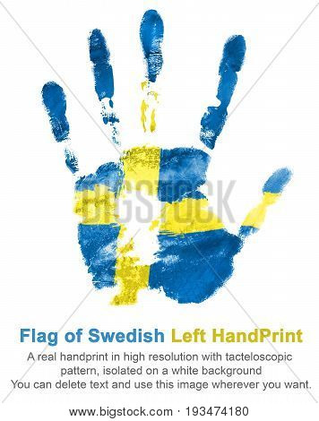 Imprint of left hand in colors of the Swedish flag