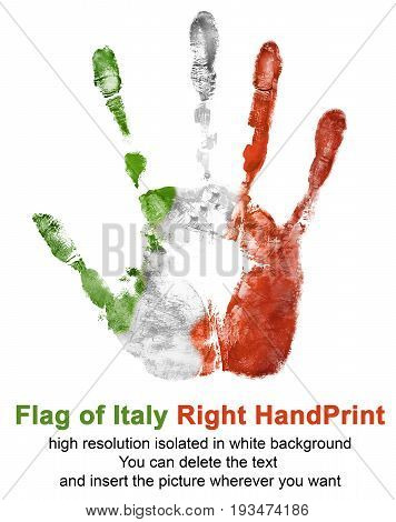 Right hand print in italy flag color isolated on white background. Symbol of Italy and national Italian holidays for use in web and print.
