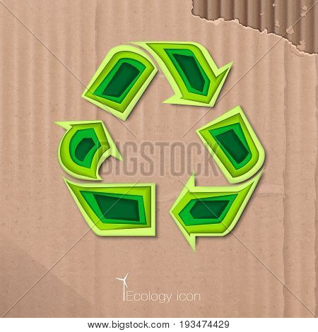 Ecological icon of recycling in paper style. ECO. Vector Illustration