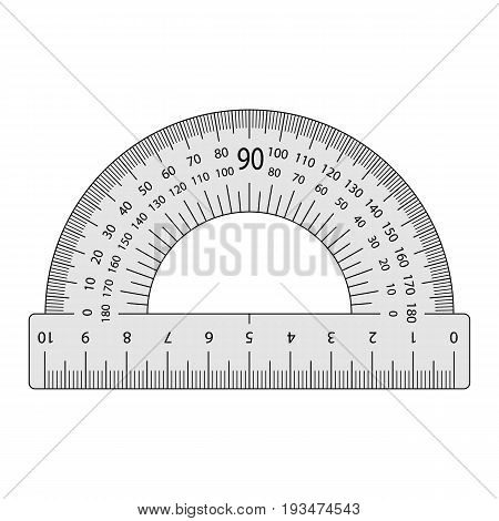 the measuring instrument is a protractor on a white background