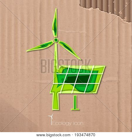 Ecological icon of windmill and solar battery in paper style. ECO. Vector Illustration