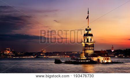 Maiden Tower in Bosforus illuminated at sunset, Istanbul