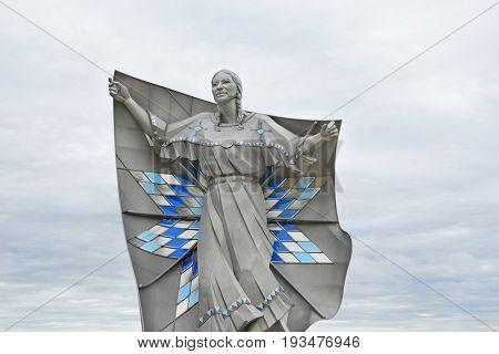 CHAMBERLAIN, SOUTH DAKOTA - JUNE 22, 2017: The Dignity Sculpture closeup. The sculpture honors the culture of the Lakota and Dakota peoples who are indigenous to South Dakota.