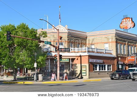 CODY, WYOMING - JUNE 24, 2017: The Irma Hotel. Built by William F. Buffalo Bill Cody, the city's co-founder and namesake who named it after his daughter Irma Cody.