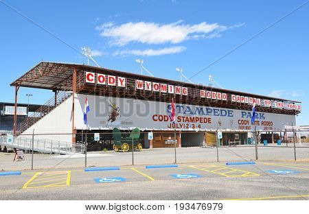 CODY, WYOMING - JUNE 24, 2017: Cody Stampede Park arena. Cody is the Rodeo Capitol of the World. 2017 marks 79th anniversary of nightly performances.